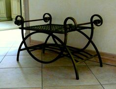 Wrought Iron Park Bench Painted In Bright Retro Colours With