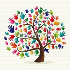 En este logotipo también simbolizan la solidaridad utilizando manos. Pero esta vez las manos están colocadas de forma que parecen las hojas de un árbol.