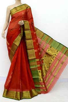 Red Colour Handwoven Bengal Handloom Cotton Saree (Without Blouse) 17123 Cotton Sarees Online Shopping, Red Colour, Pure Silk Sarees, Bengal, 10 Years, Hand Weaving, Sari, India, Pure Products