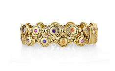 """Pinpoint"" yellow gold bracelet with colored sapphires and diamonds with 27 diamonds totalling ct and 24 sapphires and/or tsavorites totalling cts Not in stock Other variations… Gold Jewelry, Jewelery, Sterling Silver Bracelets, Ring Designs, Bracelet Watch, Cuff Bracelets, Sapphire, Jewelry Making, Gemstones"