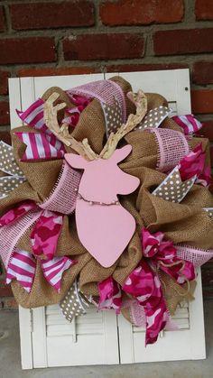 Pink Deer Nursery Decor Burlap Deer Wreath by Underthekentuckysun