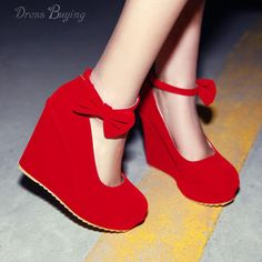 Lastest Suede Wedge Heel Round Toe Prom Shoes With Belt in Red