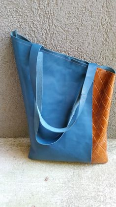 Leather Blue Tote / Handmade Blue Handbag / by TamuCreations