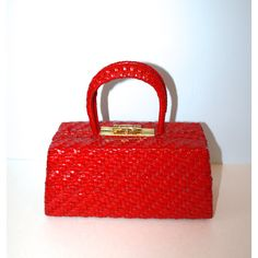 20% Off SALE 1960s Red Woven Wicker Box Purse / Vintage Basket Handbag ($29) ❤ liked on Polyvore