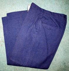 Vintage 1950 Blue Wool Serge Military Pants Size W 30 L 28 Southern Athletic Co