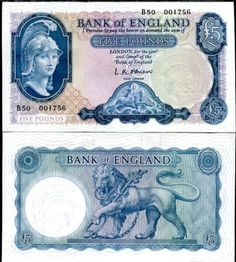 GREAT-BRITAIN-5-POUND-ND-1957-P-371-ENGLAND-QE-II-UNC