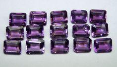 Calibrated 8x10 MM Natural Purple Amethyst Emerald Cut Octagon Loose Gem AAA