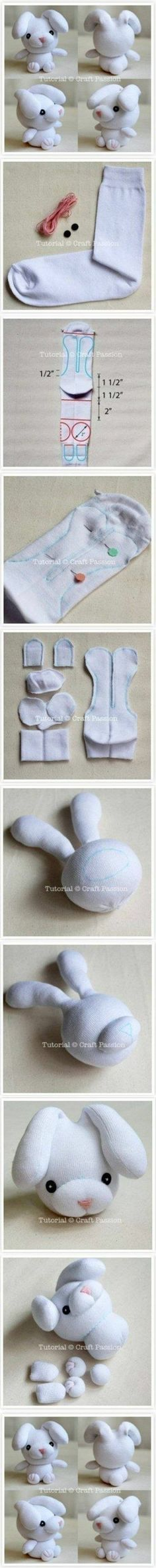 How to make Sew Sock Bunny step by step DIY tutorial instructions 400×4022 How to make Sew Sock Bunny step by step DIY tutorial instructions… @ joycotton
