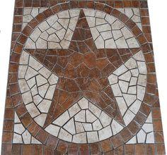 36 Inch Round Santa Cruz Texas Star Mosaic Marble Medallion Backsplash Wall or Flooring Design Texas Star, Mosaic Projects, Mosaic Ideas, Mosaic Designs, Art Projects, White Porcelain Tile, Mosaic Pieces, Deck Furniture, Floor Design