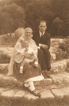 Princess Ileana of Romania with her husband Archduke Anton of Austria and their son, Archduke Stefan Michael I Of Romania, Austria, Romanian Royal Family, Archduke, Central And Eastern Europe, Queen Mary, Royal Weddings, Ferdinand, Vintage Photographs