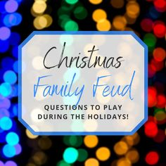 christmas games Christmas Family Feud is the perfect addition to your arsenal of party games to play this Christmas! Here are 15 Christmas Family Feud questions to ask! Fun Christmas Party Games, Xmas Games, Adult Christmas Party, Christmas Games For Family, Holiday Games, Christmas Activities, Christmas Traditions, Holiday Fun, Christmas Holidays