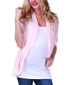 Look at this #zulilyfind! Pink Lace-Back Maternity Open Cardigan - Women by PinkBlush Maternity #zulilyfinds