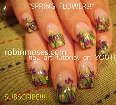 Nail-art by Robin Moses - spring flowers