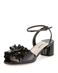 Miu Miu Shoes at Neiman Marcus Miu Miu Sandals, Mid Heel Sandals, Ankle Wrap Sandals, Ankle Strap Shoes, Open Toe Shoes, Open Toe Sandals, Leather Sandals, Shoes Sandals, Patent Leather