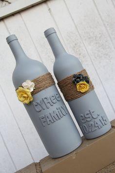 Custom Wedding Gift Wedding Wine Bottles Yellow by KGCPartyDecor Custom Wine Bottles, Wedding Wine Bottles, Empty Wine Bottles, Wine Bottle Art, Glass Bottle Crafts, Diy Bottle, Bottles And Jars, Liquor Bottles, Mason Jars