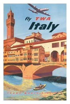 Giclee Print: Fly TWA Italy, Florence, 1950s : 44x30in