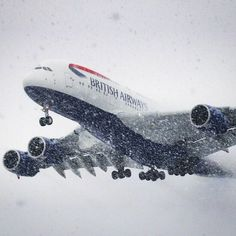 British Airways A380 landing at Washington Dulles in the snow - photo from @Jamesdingell