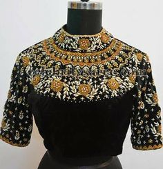 15 Latest Heavy Designer Saree Blouse Designs Heavy designer blouses are appropriate when you are going for a party, wedding or major function. This heavy designer blouses can be paired with sarees or lehengas. Here in this post, we are talkin… Blouse Designs High Neck, High Neck Blouse, Bridal Blouse Designs, Dress Designs, Black Saree Blouse, Indian Blouse, Indian Wear, Indian Gowns, Indian Outfits