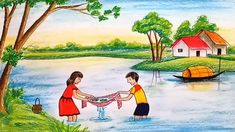 #fishingscenery #howtodraw #drawing Beautiful Scenery Drawing, Art Drawings For Kids, Step By Step Drawing, Drawing S, Colored Pencils, Watercolor, Fish, Painting, Beautiful Landscapes