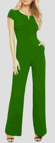 Green - Daily Fashion Short Sleeve Wide Leg Jumpsuit #jumpsuit - http://www.modeshe.com/products/black-daily-fashion-short-sleeve-wide-leg-jumpsuit-mb64364-2?pp=1