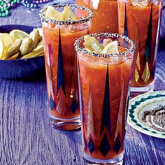 Cajun Bloody Mary via Coastal Living Fancy Drinks, Cocktail Drinks, Yummy Drinks, Cocktails, Brunch Drinks, Yummy Food, Mardi Gras Food, Mardi Gras Party, Drinks Alcohol Recipes