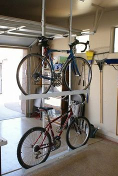 Ceiling Double Bike Storage by Your Great Garage (Diy Storage Garage) Bike Storage Garage Diy, Bike Storage Room, Storage Room Organization, Workshop Organization, Storage Ideas, Storage Rack, Diy Storage, Homemade Storage, Garage House