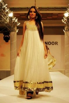 White Floor Length anarkali dress. @ Looksgud.in #anarkali #ethnic #indianwear