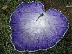 Concrete leaf birdbath  Purple colored bath Yard by LindasYardArt