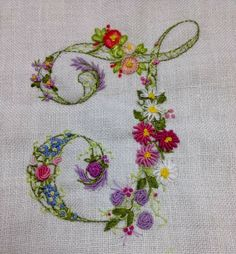 Embroidered floral monogram