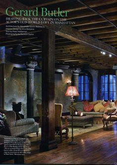 Gerard Butler's New York City loft!  Amazing!  Shot of Living room.