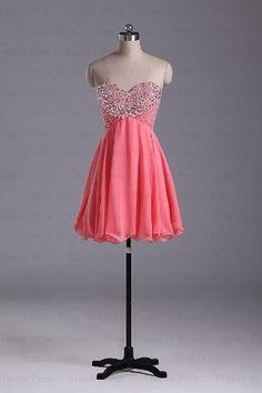 A-line Sweetheart Above the Knee Sleeveless Coral Chiffon Fashion Prom Dress Bridesmaid Dress Evening Dress Party Dress 2013 With Beading by Simple Prom, http://www.amazon.com/dp/B00DW0VQU8/ref=cm_sw_r_pi_dp_eyQmsb00A3V79