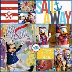 Layout by Heather. Sail Away Party on Disney Cruise Line Fantasy - page 1. Credits: Project Mouse (At Sea): Bundle by Britt-ish Designs & Sahlin Studio. Clean Lined Pocket Templates No. 1 by Sahlin Studio.