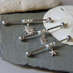 Sun Moon or Star Industrial Barbell Piercing or Ear Jewelry 1 or 1 Anodized Scaffold Upper Ear Bar - Choose Your Bar Color - pircings oreja - Fake Piercing, Cute Ear Piercings, Barbell Piercing, Ear Jewelry, Crystal Jewelry, Body Jewelry, Jewelry Sets, Jewellery, Industrial Piercing Jewelry