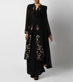 Black Matka Silk Suit with Urdu Alphabets