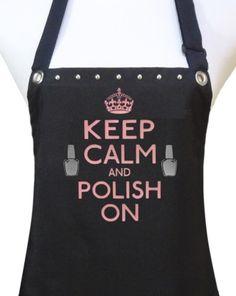 Trendy Salon Aprons-Keep Calm Polish On, Salon Apron, Manicurist Apron, Nail Tech Apron,