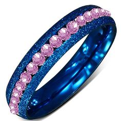 """Pink n Blue"" Channel Set Ring"