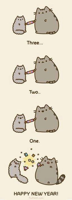 New Years Pusheen and Stormy