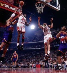 Jordan pumped in 55 points (on 21-of-37 shooting from the field) as the Bulls won Game 4 of the Finals. The crusher for Phoenix came when, with 13 seconds remaining and Chicago leading 106-104, Jordan scored on a drive through the lane, drew a foul and hit the free throw.