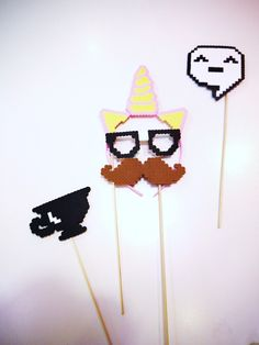 Party Photo Props Pixel Art  Unicorn Headband, Tea Cup, Happy Face Cartoon Bubble Brown Moustache Nerd Glasses  8 Bit Pixel Art.