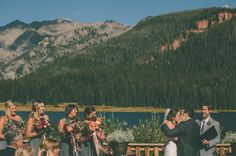 Bridesmaids in Henkaa Sakura Convertible Dresses in Charcoal Grey. Colorado Wedding by Jessica Christie Photography