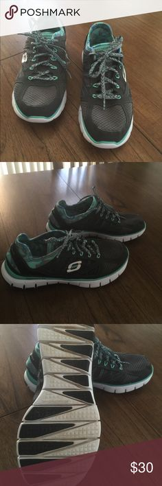 Skechers Gray Sneakers Gray sneakers with teal detail. Tie laces. Super comfy with memory foam! Size 8 Skechers Shoes Athletic Shoes