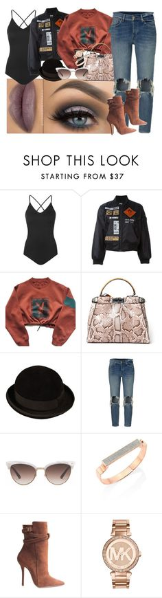 """""""Bowler hat Style 2day"""" by mrs-brown-carter ❤ liked on Polyvore featuring Topshop, Kokon To Zai, Fendi, CÉLINE, Gucci, Monica Vinader, Henri Lepore Dezert and Michael Kors"""