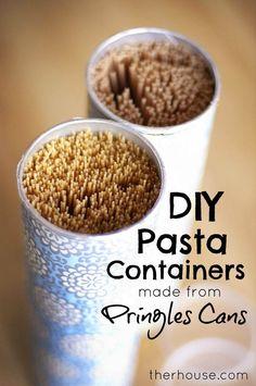 Diy pringles pasta containers