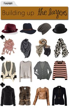 """""""How to layer without thinking too hard: blouse or shirt with coat, add a scarf and a hat. These work great for spring when the weather and temp can change on a dime: loosen the scarf or remove the coat but they're there for evenings or showers."""""""