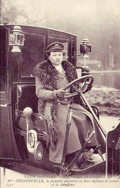 Mme Decourcelle was a taxi driver in Paris— a chauffeuse who also had a license to drive horse cabs. 1909