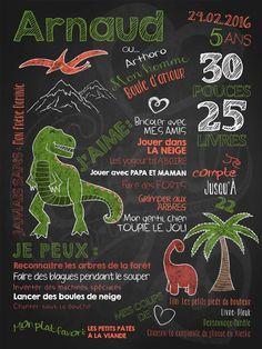 Affiche personnalisée anniversaire 2 à 5 ans Au temps des dinosaures   28,00$ #chalkboard #lacraieco #dinosaure