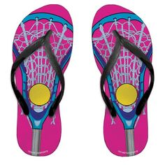 Lacrosse Stick Pink/Blue Girls Flip Flops - http://shoes.goshopinterest.com/girls/sandals-girls/lacrosse-stick-pinkblue-girls-flip-flops/