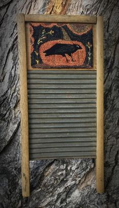 Old Wooden Washboard to mount a Punch Needle piece ...cute idea! ~~ My Old Crow Primitives | Primitive Handmades Mercantile