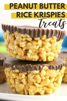 dessert recipes Peanut Butter Rice Krispies Treats, a dairy-free quick and easy to make no bake dessert! Everyone will love this not too sweet crispy treat! No Bake Desserts, Easy Desserts, Delicious Desserts, Dessert Recipes, Yummy Food, Cheesecake Desserts, Raspberry Cheesecake, Easy Sweets, Baking Desserts