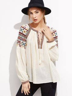 SheIn offers Apricot Tie Neck Embroidered Top & more to fit your fashionable needs. White Fashion, Boho Fashion, Girl Fashion, Fashion Dresses, Mode Bollywood, Bollywood Fashion, Bohemian Mode, Indian Designer Outfits, Mode Hijab